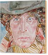 Tom Baker Doctor Who Watercolor Portrait Wood Print