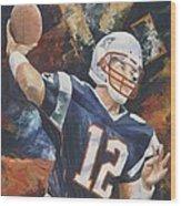 Tom Brady Wood Print