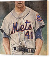 Tom Seaver Wood Print by Michael  Pattison