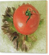 Tomato And Lettuce Wood Print