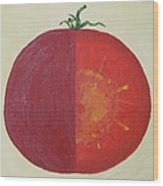 Tomato In Two Reds Acrylic On Canvas Board By Dana Carroll Wood Print