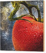 Tomato On A Vine Wood Print