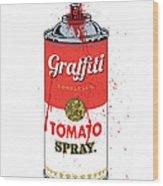 Tomato Spray Can Wood Print