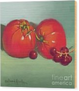 Tomatoes And Concord Grapes Wood Print