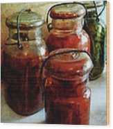 Tomatoes And String Beans In Canning Jars Wood Print