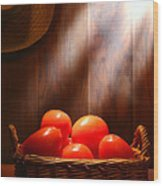 Tomatoes At An Old Farm Stand Wood Print by Olivier Le Queinec