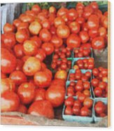 Tomatoes For Sale Wood Print