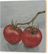 Tomatoes On Vine Wood Print
