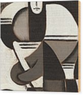 Tommervik Abstract Cubism Hockey Player Art Print Wood Print