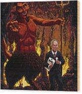 Tony Blair In Hell With Devil And Holding Weapons Of Mass Destruction Document Wood Print by Martin Davey