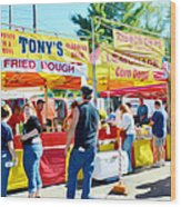 Tonys Concessions Potato Garlic Soup Bread Bowl Wood Print