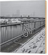 Too Cold To Cycle Wood Print