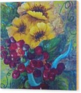 Too Delicate For Words - Yellow Flowers And Red Grapes Wood Print