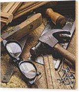 Tools Wood Print by Tony Cordoza