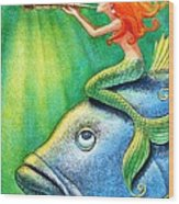 Toot Your Own Seashell Mermaid Wood Print
