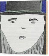 Top Hat And Beard Wood Print