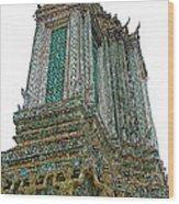 Top Of Temple Of The Dawn-wat Arun In Bangkok-thailand Wood Print