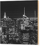 Top Of The Rock In Black And White Wood Print
