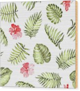 Topical Palm Leaves Pattern Wood Print