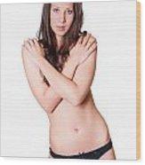 Topless Brunette Wood Print