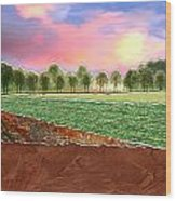 Torn Paper Fields Of Green And Brown Wood Print