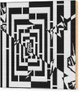 Torn Worm Hole Maze  Wood Print