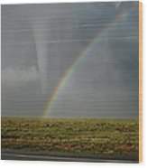 Tornado And The Rainbow Wood Print