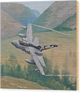 Tornado Gr4 - Shiny Two Flying Low Wood Print