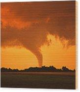 Tornado Sunset Wood Print