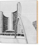 Toronto City Hall II Study Wood Print