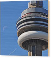 Toronto Cn Tower Moon And Jet Trail Wood Print
