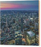 Toronto Downtown City At Night Wood Print