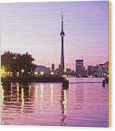 Toronto Skyline At Sunset, Toronto Wood Print by Peter Mintz