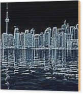 Toronto Skyline In Blue Wood Print