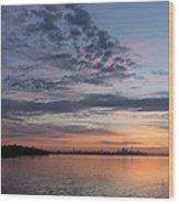 Toronto Skyline In Pastel Blue Pink Yellow Orange And Purple Wood Print