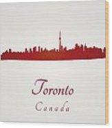 Toronto Skyline In Red Wood Print