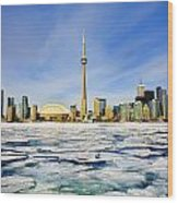 Toronto Skyline In Winter Wood Print