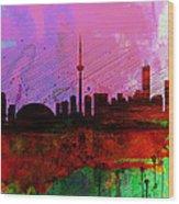 Toronto Watercolor Skyline Wood Print