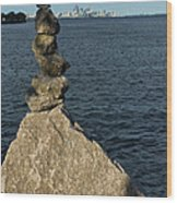 Toronto's Cn Tower Sculpted From Natural Stones Wood Print