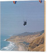 Torrey Pines Paragliders Wood Print by Anna Lisa Yoder