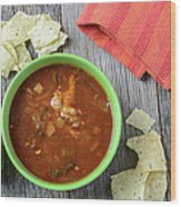 Tortilla Soup With Chips And Fresh Lime On Rustic Wood Backgroun Wood Print