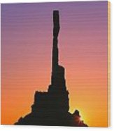 Totem Pole In Monument Valley Wood Print