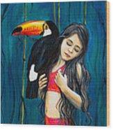 Toucan Girl Wood Print
