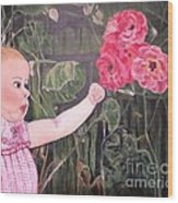Touched By The Roses Painting Wood Print