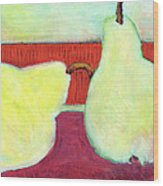 Touching Pears Art Painting Wood Print