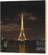 Tour Eiffel At Night With Reflection.  Wood Print