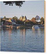 Touring On The World Showcase Lagoon Walt Disney World Wood Print