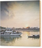 Tourist Boat On Sunset Cruise In Phnom Penh Cambodia River Wood Print