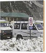 Tourist Vehicles Parked At The No Parking Sign In Sonmarg Wood Print