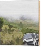 Tourists And Bus Inside The Eravikulam National Park Wood Print